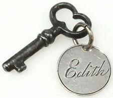 Antique Key with Hand Engraved Silver 3d Coin Charm ' Edith ' 1891 - Tiny Key