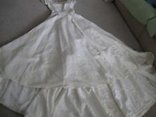 VINTAGE CREAM COLOR WEDDING DRESS-SEQUINS-BEADING-REPURPOSE-DIY-FABRIC-THEATER-S
