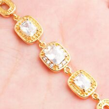 Wholesale Special Clear Rectangle Round Cubic Zircon Gold Plated Girl Bracelets