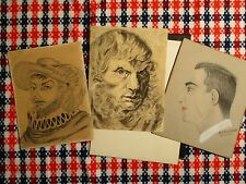 Viintage Lot of 3 Portrait Sketch Drawings