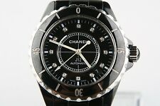 Chanel J12 Classic Steel Black Ceramic Automatic Wrist Watch Diamond Dial H0685