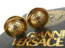 Authentic GIANNI VERSACE Earrings Logos Medusa Goldtone Plated Women 8156eRN