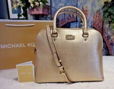 NWT MICHAEL Kors CINDY LARGE Dome Satchel SAFFIANO Leather Bag In PALE GOLD $298