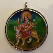 Durga Round Pendant 40mm Diameter Cased in White Metal (PD11)