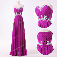 Women Fashion Long Chiffon Prom Wedding Party Bridesmaid Dress Evening Ball Gown