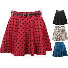 New Ladies Belted Polka Dot Spotted Short Flare Dress Women's Skirt 6 8 10 12 14