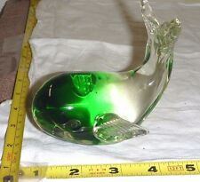 "Vtg Crystal/Glass Green & Clear WHALE Figurine/Paperweight - 4Lx4Hx3""W - NICE !"
