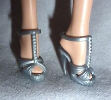 SHOES ~ BARBIE DOLL MODEL MUSE SILVER LOOK ANKLE STRAP PEEP TOE SANDAL HIGH HEEL