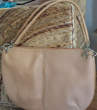 MAXX New York Tan Beige Bone Pebble Leather Bag Handbag Hobo Large