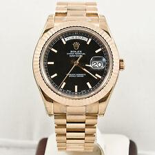 Rolex Mens DayDate II 18k Rose Gold Model 218235 Black Index Dial & Fluted Bezel