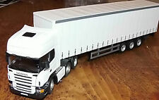 Cararama diecast 1:50  Scania R Topline  3 Axle Curtainside Trailer White Code 3