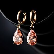 18K Yellow Gold Filled Pear Shape Sapphire Crystal Wedding Dangle Earrings Gift