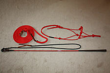 THOMEY NATURAL HORSE TRAINING SET~ HALTER, LEAD,STICK~HIGH QUALITY~. RED