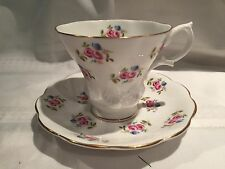 Royal Albert-Red & Blue Roses- Tea Cup & Saucer-Bone China-England- MINT