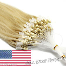 """Real Brazilian Remy Human Hair Extensions Micro Ring Beads Tip Light Blonde 16"""""""