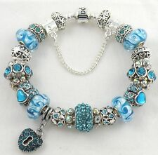 Authentic PANDORA Barrel Bracelet with AQUA HEART European Charms & Murano Beads