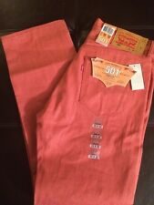 Nwt Levi's 501 Jeans Mens Size 33 X 32 Coral Red White Oak Cone Denim T6