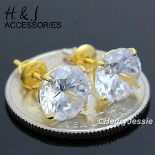 925 STERLING SILVER 9MM CLEAR ROUND LAB DIAMOND SCREW BACK GOLD STUD EARRING*E88