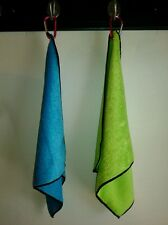 """2 New Gr/Bl Microfiber 14""""x16"""" Sports Golf Kitchen Towels with Grommets & Clips"""