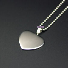 Large Size Titanium Engravable Dog Tag Heart Pendant Necklace PS4