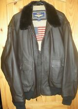 NWOT BROWN NAVY AIRBORNE LEATHER FLIGHT JACKET MENS LARGE