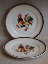 """METLOX POPPY TRAIL CHINA RED ROOSTER PAIR DINNER PLATES 9 7/8"""""""