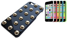 IPHONE 5 COVER CASE BUMPER RIGIDO BORCHIE SFERICHE DORATE COLORE NERO LUCIDO Y