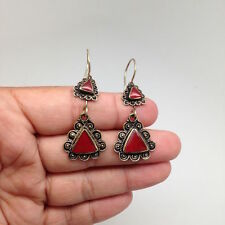 Handmade Afghan Turkmen Tribal Kuchi Carnelian Triangle Shape Earrings Gold-Tone