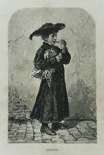 1877: ROMA, ABATINO, CHIERICO CHE FUMA SIGARO LAZIO.Xilo o in Passepartout ETNA