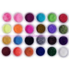 24Pcs Sparkle Bright Colors Nail Art Glitter UV Gel Sequins Powder Dust Kits