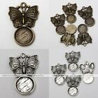 10x Tibetan Silver Butterfly Round Photo Picture Frame Charms Pendant Findings