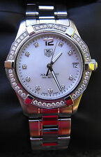 WAF1313.BA0819 Tag Heuer Ladies Aquaracer Quartz Pearl Diamond MIDSIZE Watch