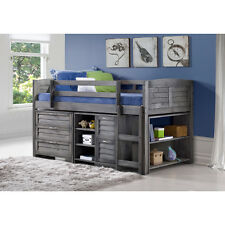Donco Kids Grey Louver Low Loft Bed with Chests Shelves and Bookcase Twin
