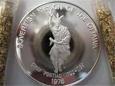 7/8 -OZ .OTTAWA AMERICAN NATIVE INDIAN TRIBAL NATIONS ART COIN SILVER.999 + GOLD