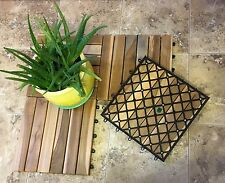 "Teak wood tile interlocking flooring box of 10 tiles.  12"" x 12"" tiles"