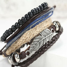 Men's Braided Multi Chain Leather Stainless Steel Cuff Wristband Bangle Bracelet