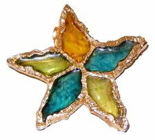 Brutalist Resin Star Brooch - Pin by Joy Blue Green Amber Plique a Jour 1970s