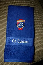 """Chicago Cubs""Baseball & Old Style Beer Navy 1 Hand Towel w/ machine embroidery"