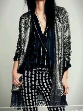NWT FREE PEOPLE STARDUST GOLD SEQUIN OPEN LACE DRESS CARDIGAN SWING JACKET S 268