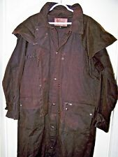 "46""Long Outback Trading Mens Med Riding Duster Oilskin Canvas Waxed Cotton Coat"
