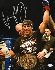 Urijah Faber Signed UFC 11x14 Photo PSA/DNA COA WEC 34 Picture w/ Belt Autograph