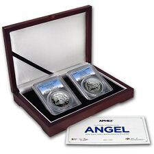 2016 PCGS PR70 FS Isle of Man PROOF & REVERSE Silver Angel 2-Coin Set - ONLY 500