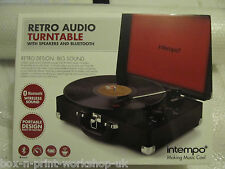 Intempo Retro Record Player With Bluetooth Rechargeable Battery in Black