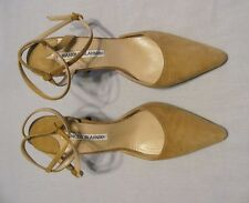 MANOLO BLAHNIK Light Tan Suede Ankle Strap Pump SIZE 37 US 7