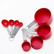 COOK'S CORNER 8PC RED STAINLESS STEEL MEASURING CUPS AND SPOONS SET