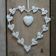 White Metal Wire Wall Hanging Love Heart in Heart on Ribbon Wedding Home