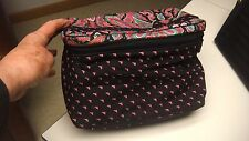 VINTAGE MARY KAY COSMETIC BAG - NEW AND COLORFUL WITH BRASS TAG AND POCKETS