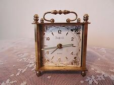 Antique Sheffield Carriage Alarm Clock Working! Brass Engraved Floral Design 50s