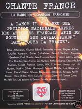 PUBLICITÉ 1996 CHANTE FRANCE LA RADIO 100% CHANSON FRANÇAISE