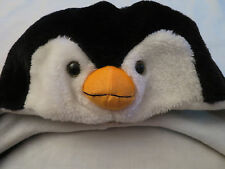 little girls Winter Plush Warm Hat Scarf Gloves White & Black Penquin Head